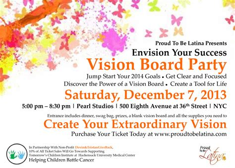 Envision Your Success Vision Board Party Tickets Sat Dec 7 2013 At 5 00 Pm Eventbrite Vision Board Invitation Template