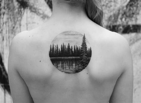 nature tattoo with lake and wood