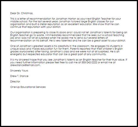 Reference Letter For Esl Student recommendation letter livecareer