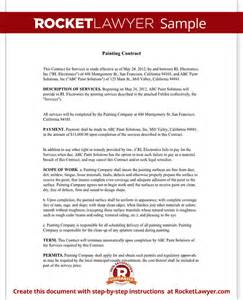 How To Write A Painting Contract by Painting Contract Free Contract For Services Template