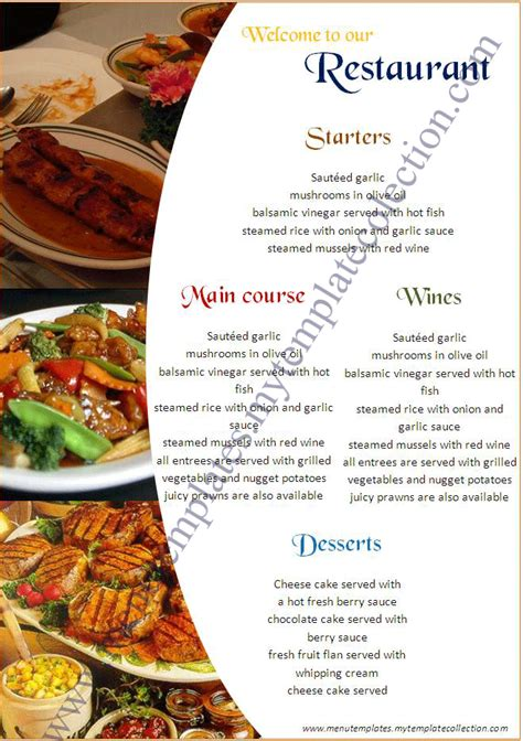 menu templates for free 5 best images of create a restaurant menu printable