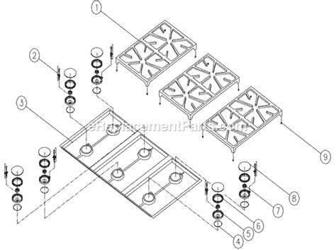 dacor cooktop replacement parts dacor esg366 parts list and diagram ereplacementparts