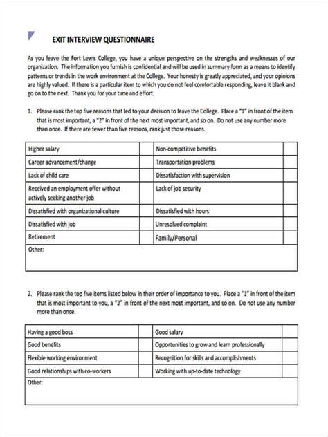 6 exit interview questionnaire form sles free