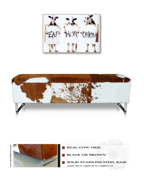 Cow Skin Bench Cow Hide Leather Seating Bench Real Fur Illustration In