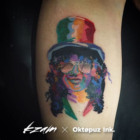 slash tattoo colour slash tatouage slash k zam artist ลาย