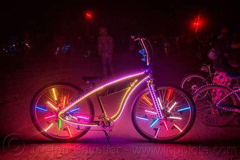 burning bike lights burning glowing bicycle with led lights