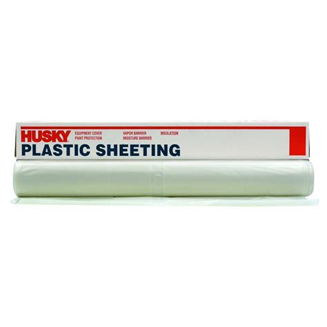 Home Depot 6 Mil Plastic by Husky 12 Ft X 50 Ft Clear 6 Mil Plastic Sheeting Cf0612