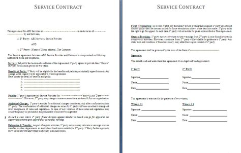 baa agreement template service contract template free contract templates
