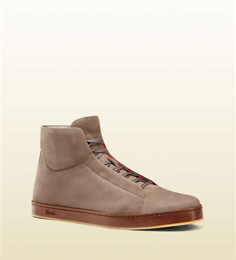 Suede Bludru Not Leather Ip55sse66s677 gucci suede hightop leather sole sneaker in brown for lyst