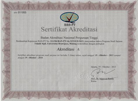 Surat Keterangan Akreditasi Dari Ban Pt Udinus by Status Akreditasi Teknik Sipil