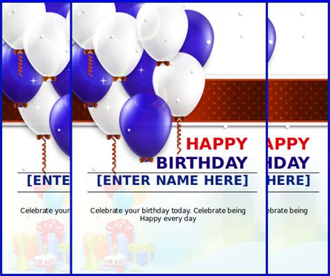 Happy Birthday Card Template Free by Happy Birthday Template Word Shatterlion Info
