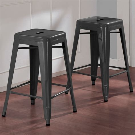 tabouret 24 inch charcoal grey metal counter stools set of 2