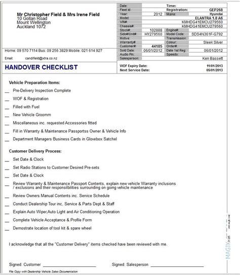 handover list template sle handover report