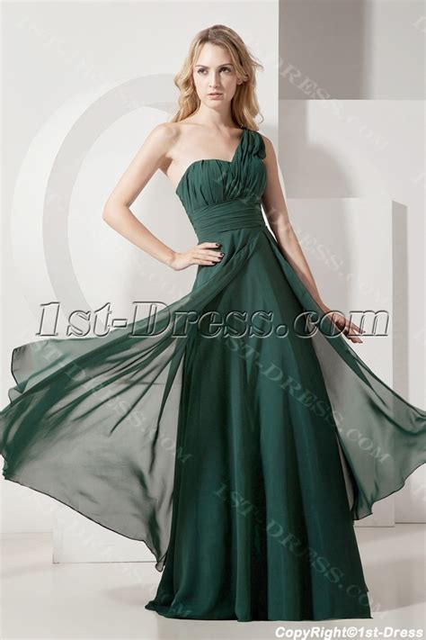 Hunter Green One Shoulder Plus Size Evening Gown:1st dress.com