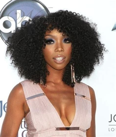 brandy norwood wigs human hair exquisite charming medium curly black full lace wig 100