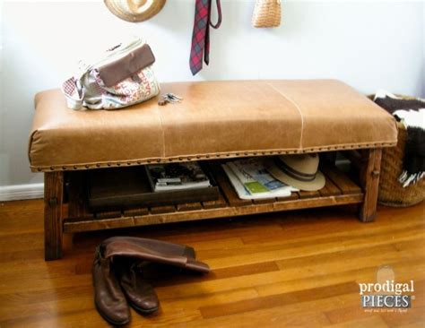 caden leather bench pottery barn knock off caden bench prodigal pieces