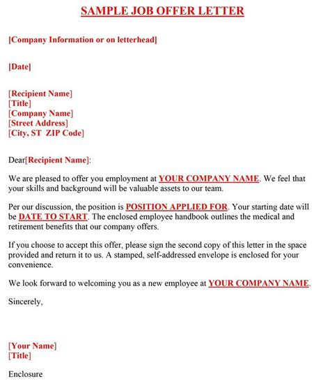 Offer Letter Format Canada 44 fantastic offer letter templates employment counter