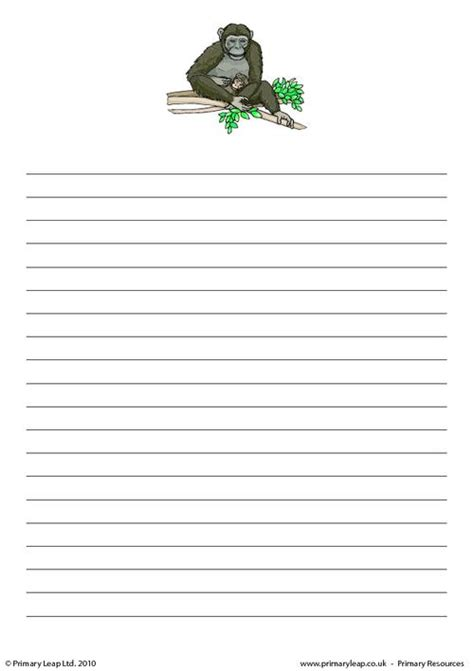 animal writing paper primary stationary with lines new calendar template site