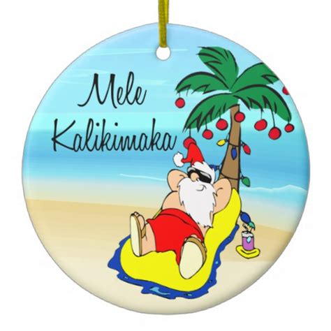 palm tree santa hawaiian christmas ornament