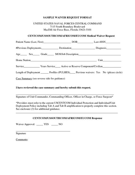Waiver Request Letter Exle Sle Waiver Form Free Printable Documents