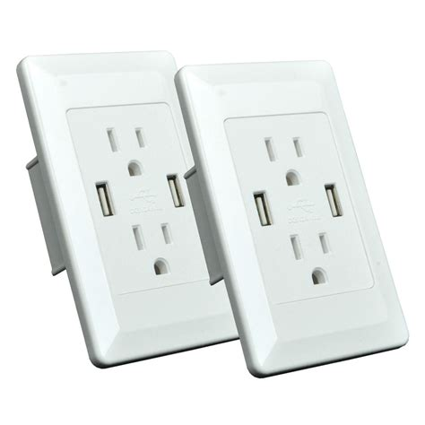 ebay outlet 2 pk dual plug wall plate socket adapter with dual usb