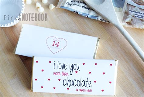 Valentines Cards For Size Bar Template by I You More Than Chocolate Free Printable Pink