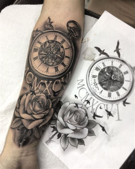 clock tattoo with roses clock tattoos clock clocks