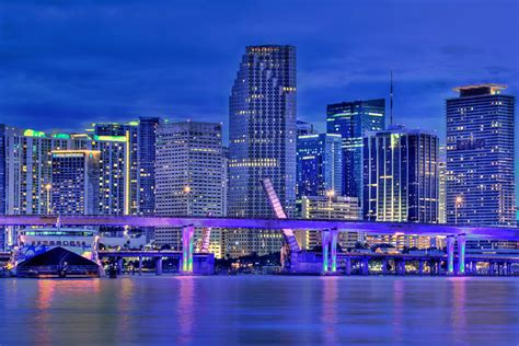 miami city skyline at night miami city downtown skyline panoramic hdr photo after