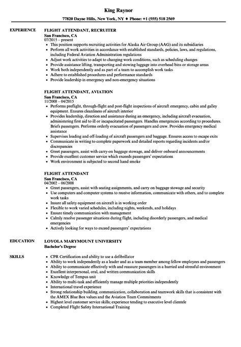 Resume Flight Attendant Exle by Resume For Flight Attendant Flight Attendant Resume