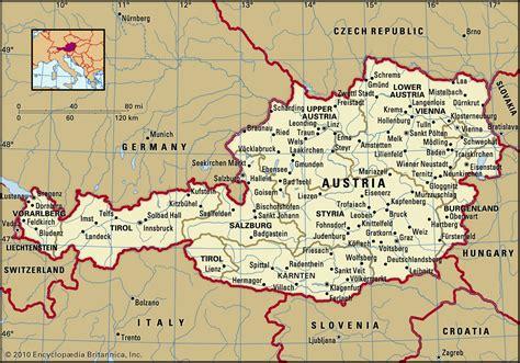 austria on map map of austria 2010