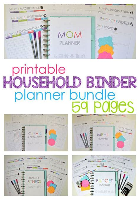 free printable mom planner pages printable household binder planner bundle includes meal