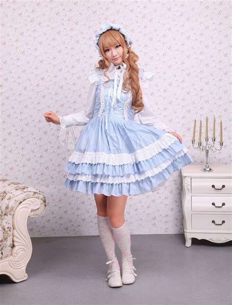 Dress Cotton Sweet Blue D203c3 cotton blue lace front ties sweet dress milanoo