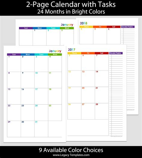 2017 2018 24 Months 2 Page Calendar 5 5 X 8 5 Legacy Templates Sheets Calendar Template 2018