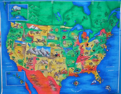 usa map with landmarks usa united states map with capitals and landmarks fabric