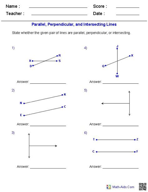 math aids printable number line identifying parallel perpendicular and intersecting