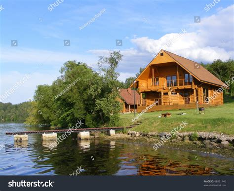 the river house beautiful wooden house near river stock photo 68891140 shutterstock