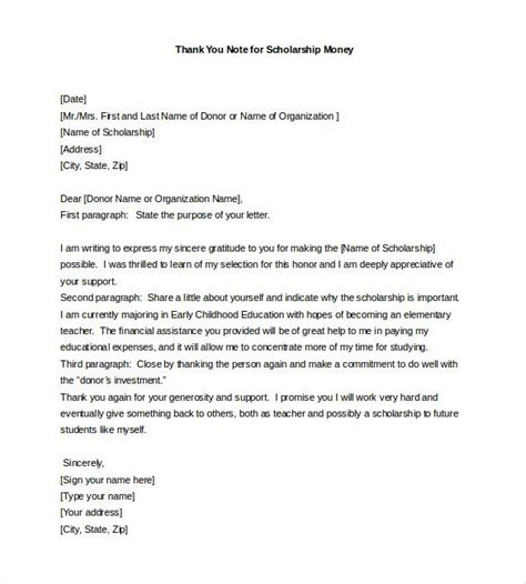 Pdf Thank You Note For Scholarship by Thank You Notes For Scholarship Free Sle Exle Format