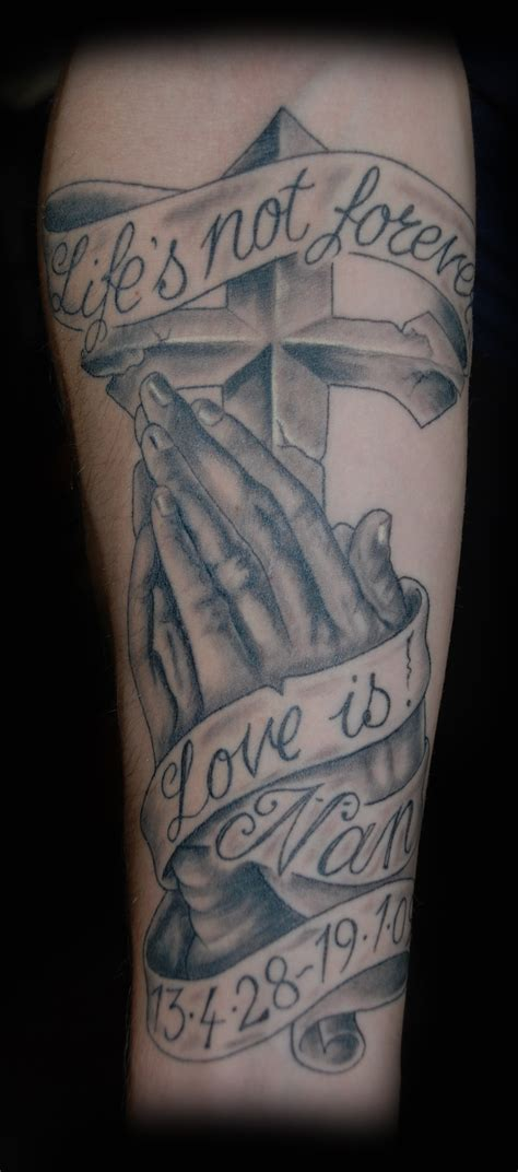 cross tattoos on hands is not forever banner and cross with praying
