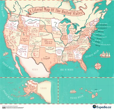 map of te united states the literal translation of places in canada the united