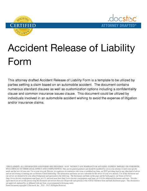 general release of liability form template best photos of release from liability form template