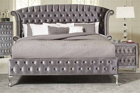 velvet bedroom furniture deanna 205101 bedroom in grey velvet by coaster w options