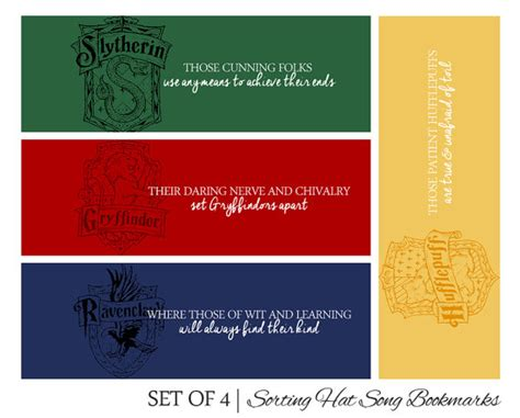 printable bookmarks harry potter set of 4 harry potter printable bookmarks sorting hat