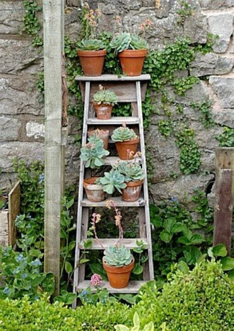 Wooden Ladder Garden Decor Go Vertical Diy Gardens For Small Spaces The Garden Glove