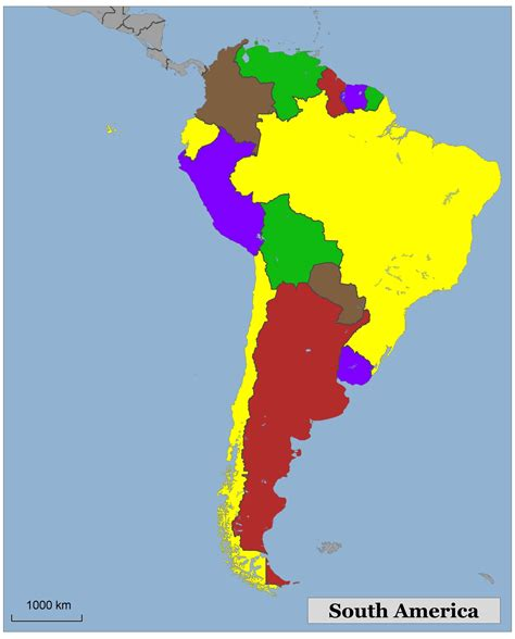south america map colored blank color map of south america