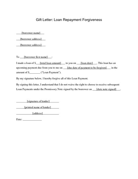 Mortgage Gift Letter Loan repayment agreement sle studio design gallery