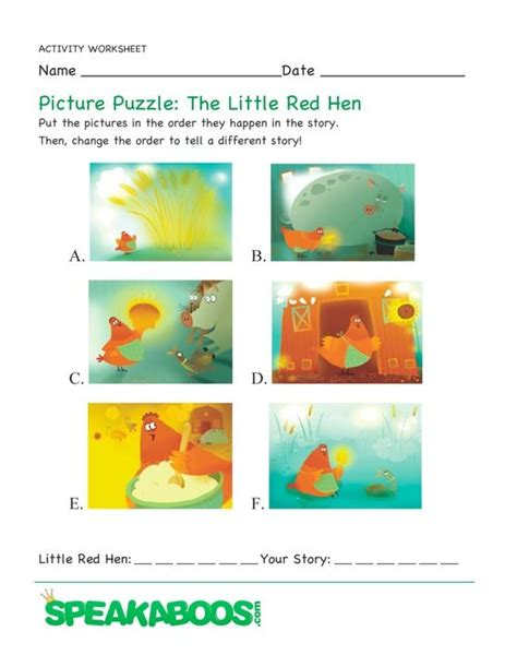 The Hen Worksheets Free by Picture Puzzle The Hen Speakaboos Worksheets