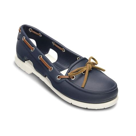 crocs boat shoes crocs womens beach line boat shoe navy white lightweight