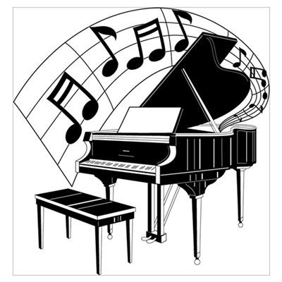 cartoon themes piano grand piano notes poster