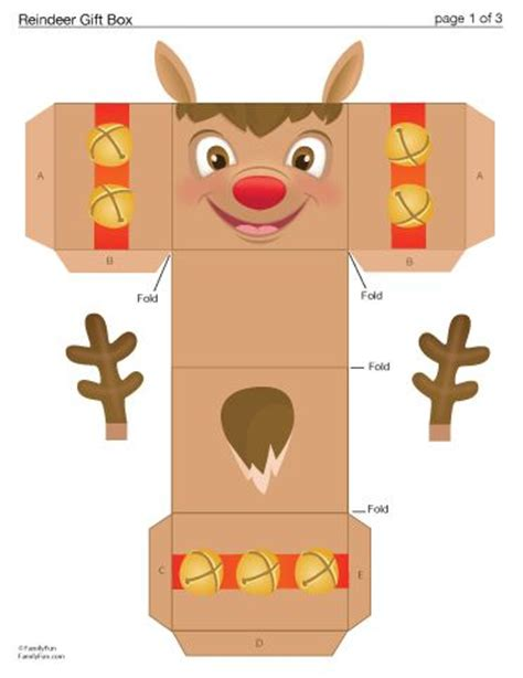 Printable Reindeer Gift Box | reindeer gift boxes and boxes on pinterest