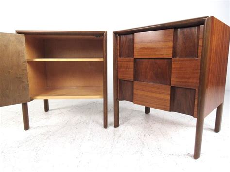 mid century accent table mcm modern jetsons space age cool pair edmond spence quot checkerboard quot nightstands for sale at